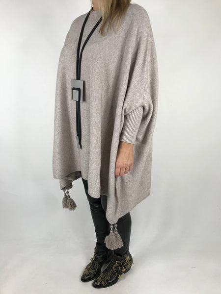 Lagenlook Quirky knitwear with Tassels in Winter Cream. code 4735