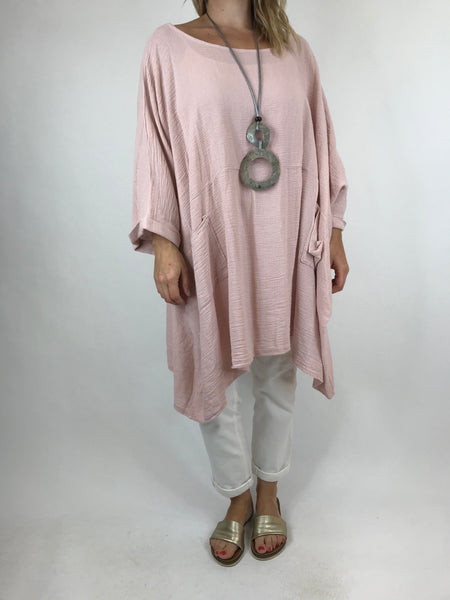 Lagenlook Trinny Oversized Cotton Top in Pale Pink.code 18168