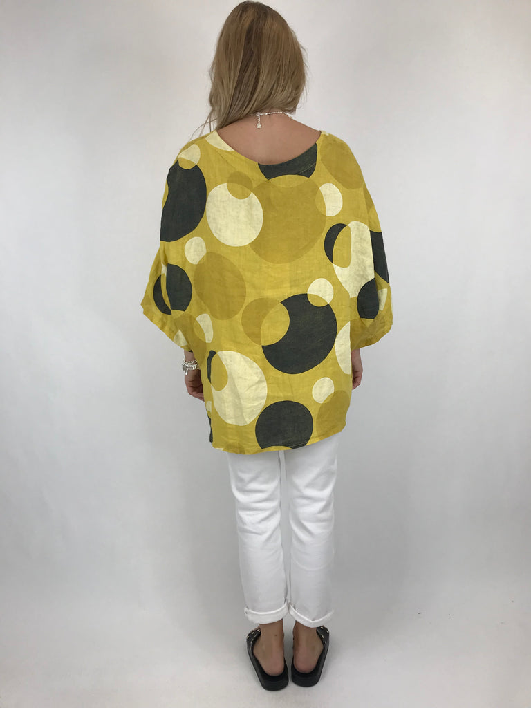 Lagenlook Circle Print Pocket Top In Yellow. code 5908
