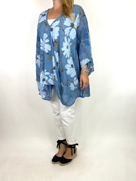 Lagenlook Hana Flower Cotton Mix Wrap Top in Denim. code 9100FP