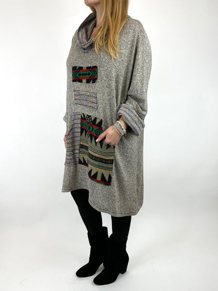 Lagenlook Nao Rainbow Aztec Top in Cream .code 9545 - Lagenlook Clothing UK