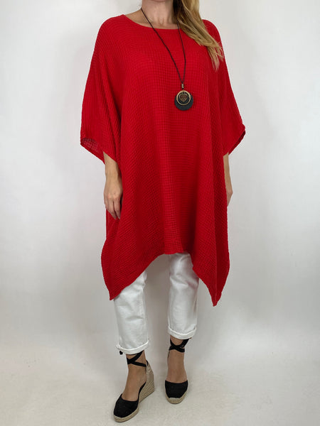 Lagenlook Nancy Cotton Waffle Necklace Top in Red. Code 8550