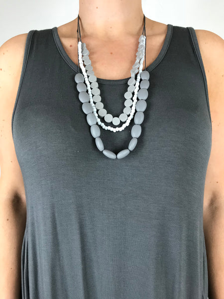 Lagenlook 3 Stand Resin & glass Bead Necklace in Grey . Code BB1714