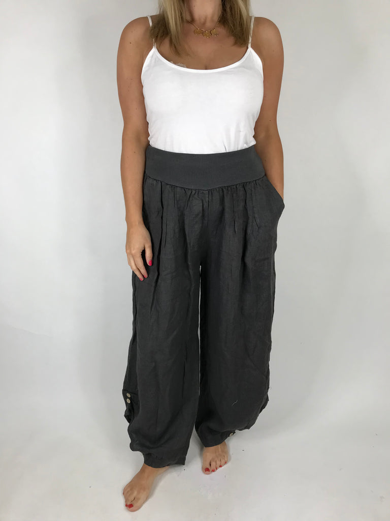 Lagenlook Hetty Button Linen Trousers in Charcoal Grey . code 5028