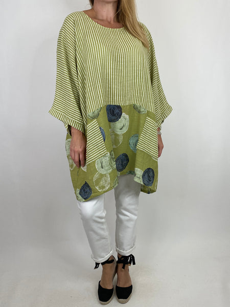 Lagenlook Mimi Stripe and Dot Cotton Top in Lime. code 10389