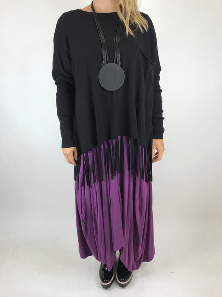 Lagenlook Tibi Tassel Knit Jumper in Black.  Code 5373
