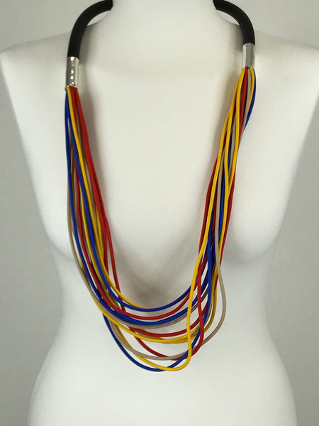 Lagenlook Multi Colour Strand Rubber Necklace .Code jyd29034