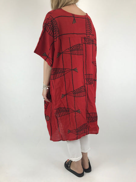 Lagenlook Sarbo Quirky Patterned Top in Red. code 39114
