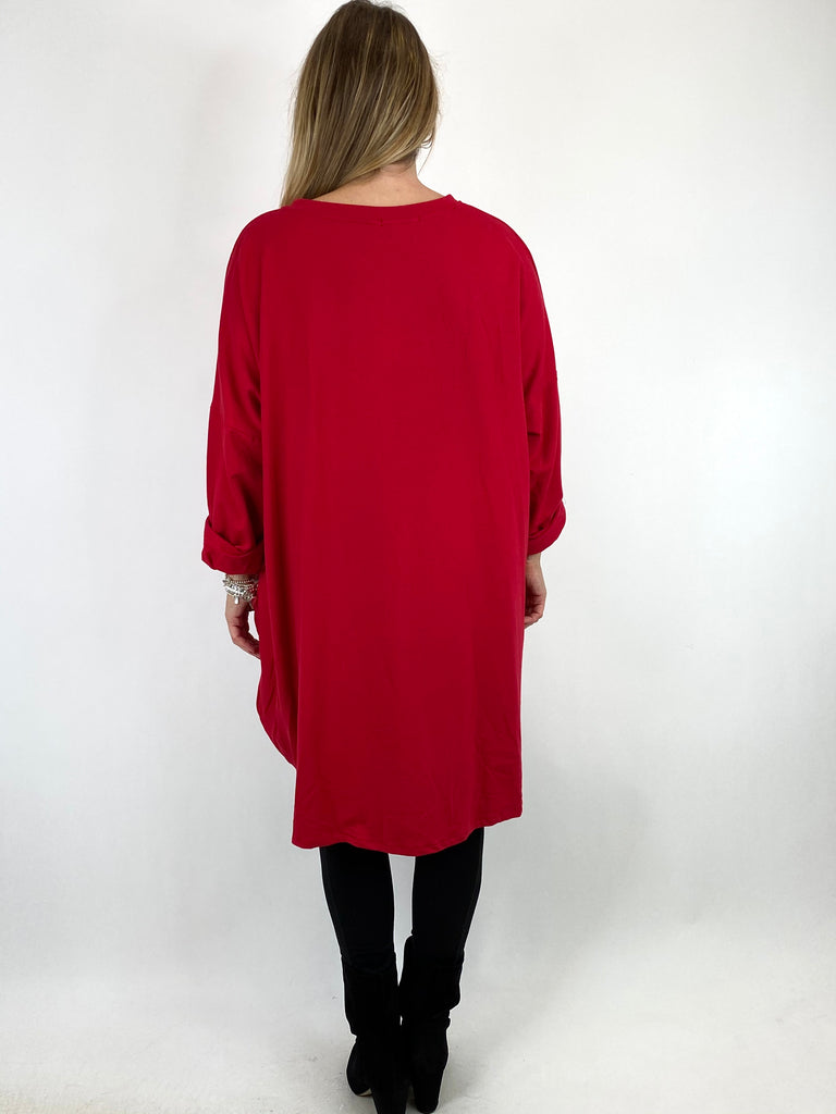 Lagenlook Back Together Print Sweatshirt Top in Red. code 91182