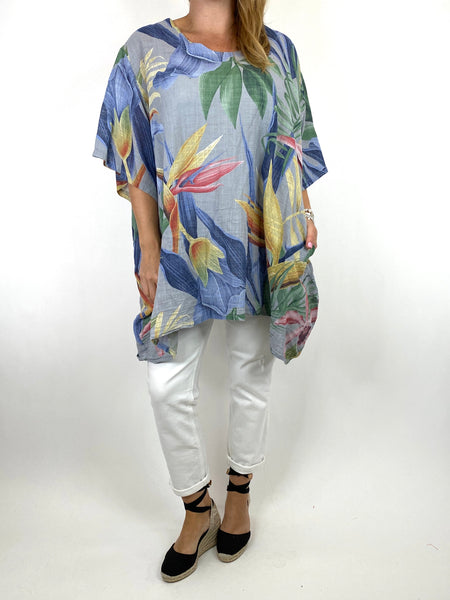 Lagenlook Solis Tropical Flower Top in Grey code 90645