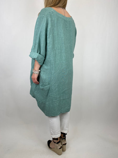 Lagenlook Mykonos V-neck Premium Linen Top in Sage Green  . code 88176