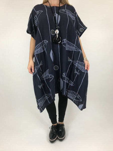 Lagenlook Sarbo Quirky Patterned Top in Navy . code 39114