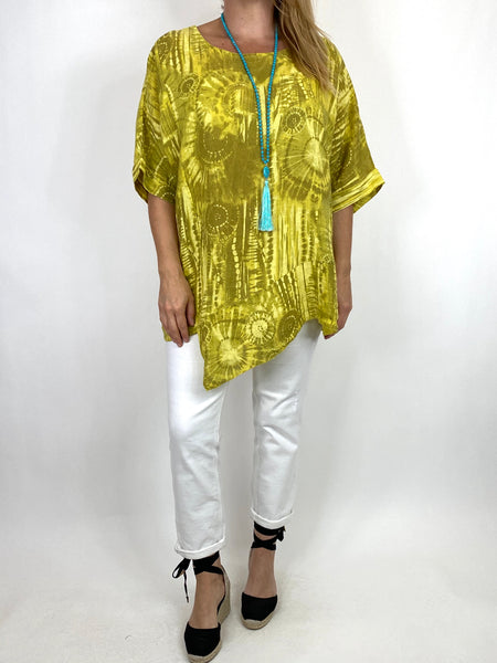 Lagenlook Tye-dye Top in Yellow Regular Size. code 6688