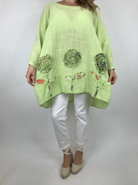 Lagenlook Dalia Flower hem in Lime . Code 90969