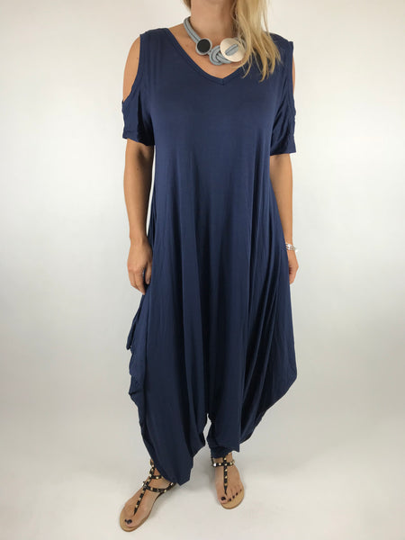 Lagenlook Made in Italy Jersey Jump Suit in Navy. code 1544