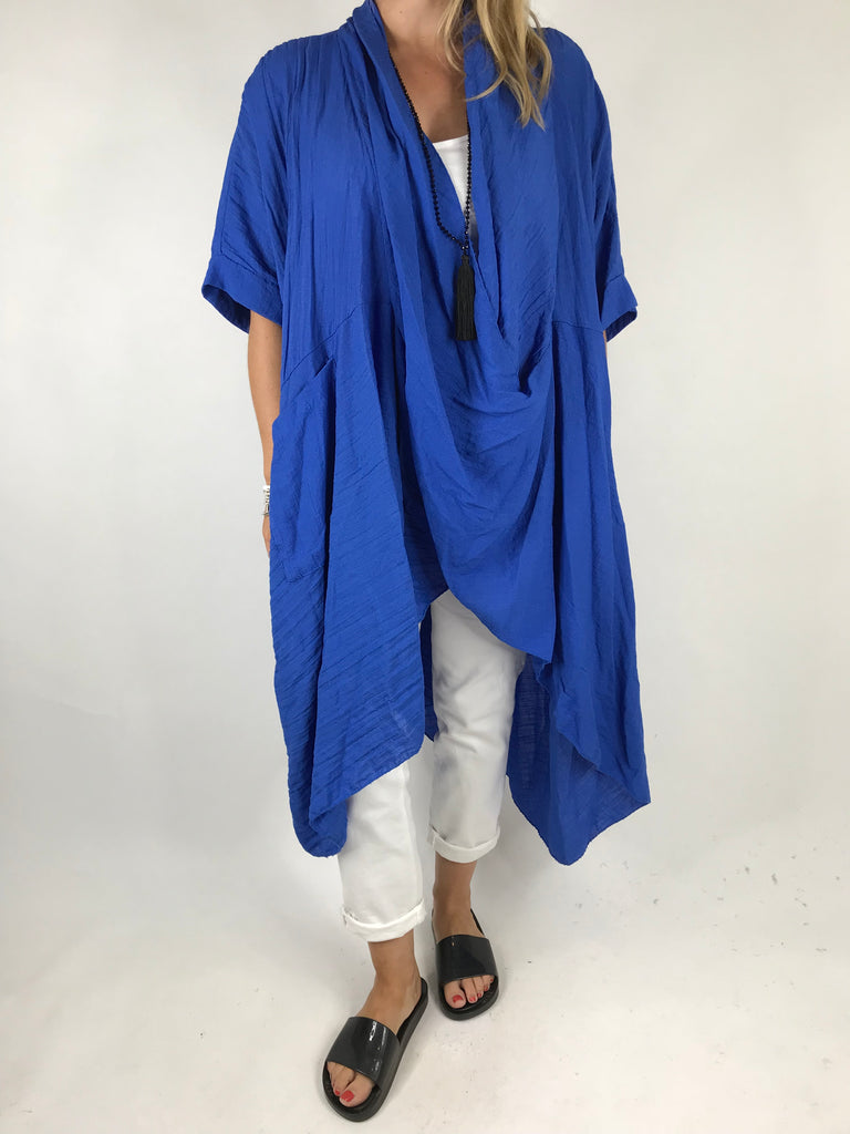 Lagenlook Cotton Wrap Dress Top in Royal Blue. code 4990