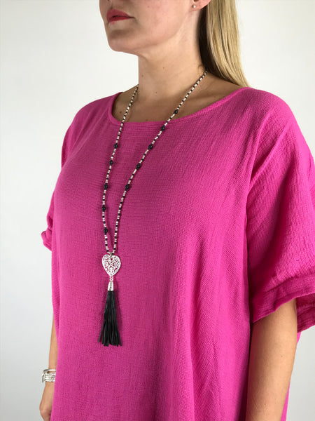 Lagenlook Tassel black bead Heart Necklace .code N7200
