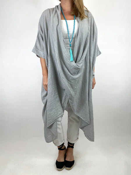 Lagenlook Cotton Wrap Dress Top in Pale Grey. code 8307