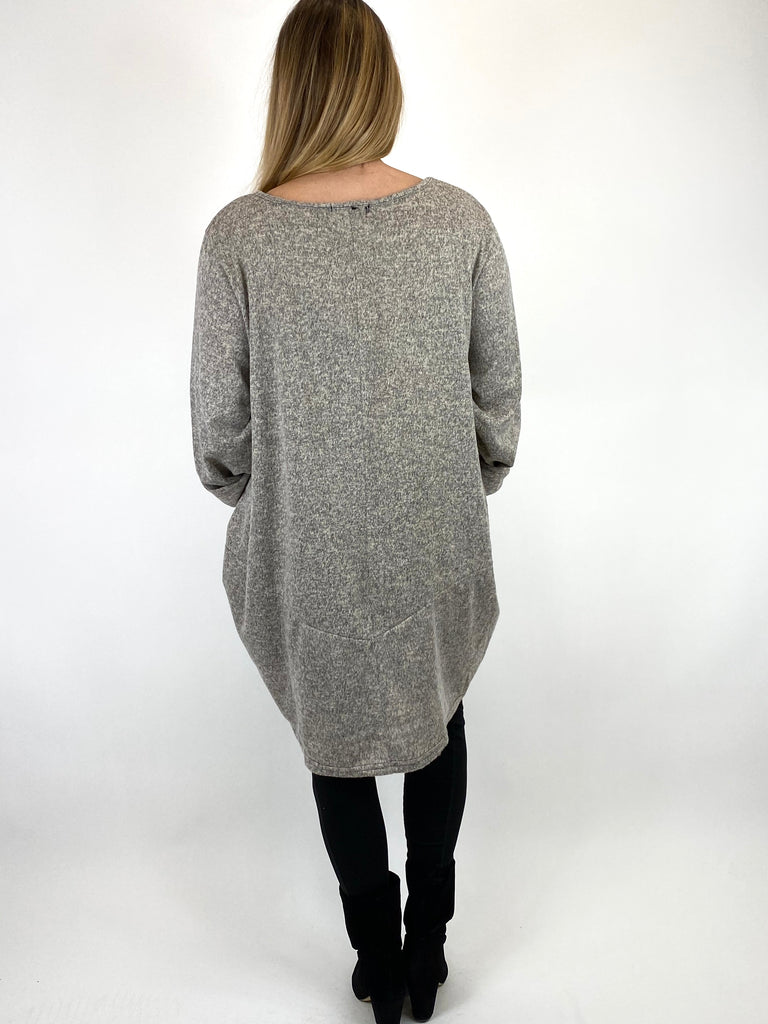 Lagenlook Made In Italy Alps Brushed Tunic in Oat. Code 7476 - Lagenlook Clothing UK