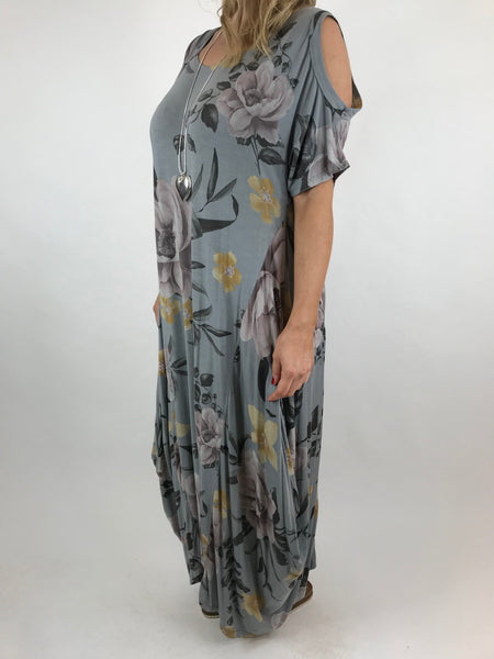 3e6b455389 ... Lagenlook Flower Cold shoulder Tunic in Grey.code 41026