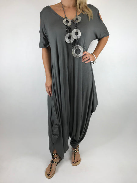 Lagenlook Made in Italy Jersey Jump Suit in Charcoal. code 1544