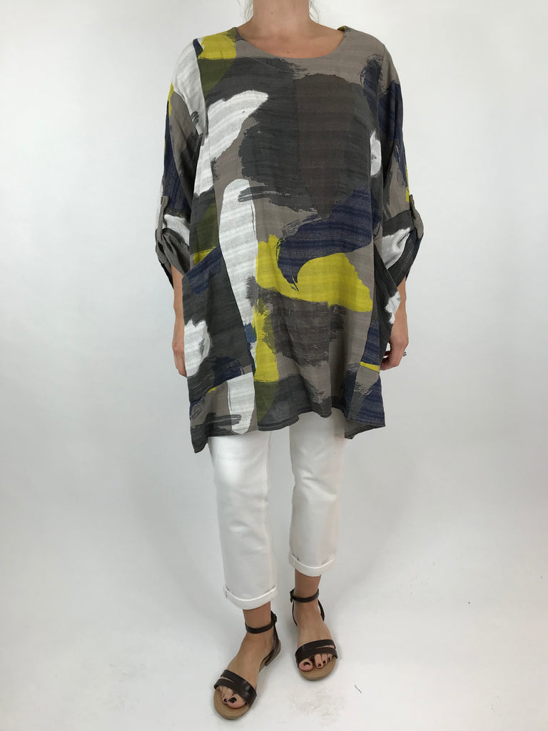 Lagenlook Mia Paint Splash Print Top in Mocha. code 90754
