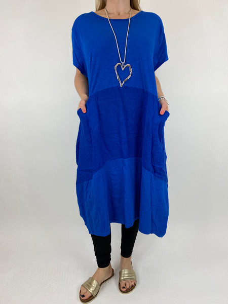 Lagenlook Layla Linen Panel Tee Tunic in Royal Blue. code 90301