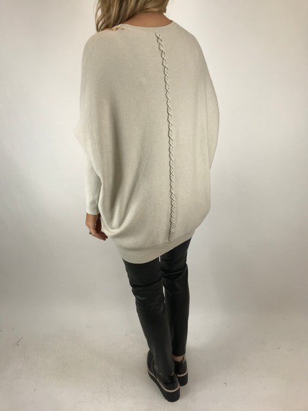 Lagenlook Piper Ribbed Plait Back Jumper in Cream.code 5933