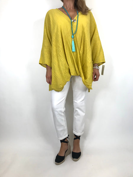 Lagenlook Linen Wrap Top in Yellow. code 2087