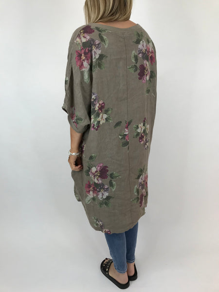 Lagenlook Nikki Summer Flower Tunic in Mocha. code 9618