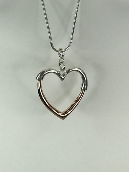 Lagenlook Rose Gold & Silver Heart Necklace .Code REO130