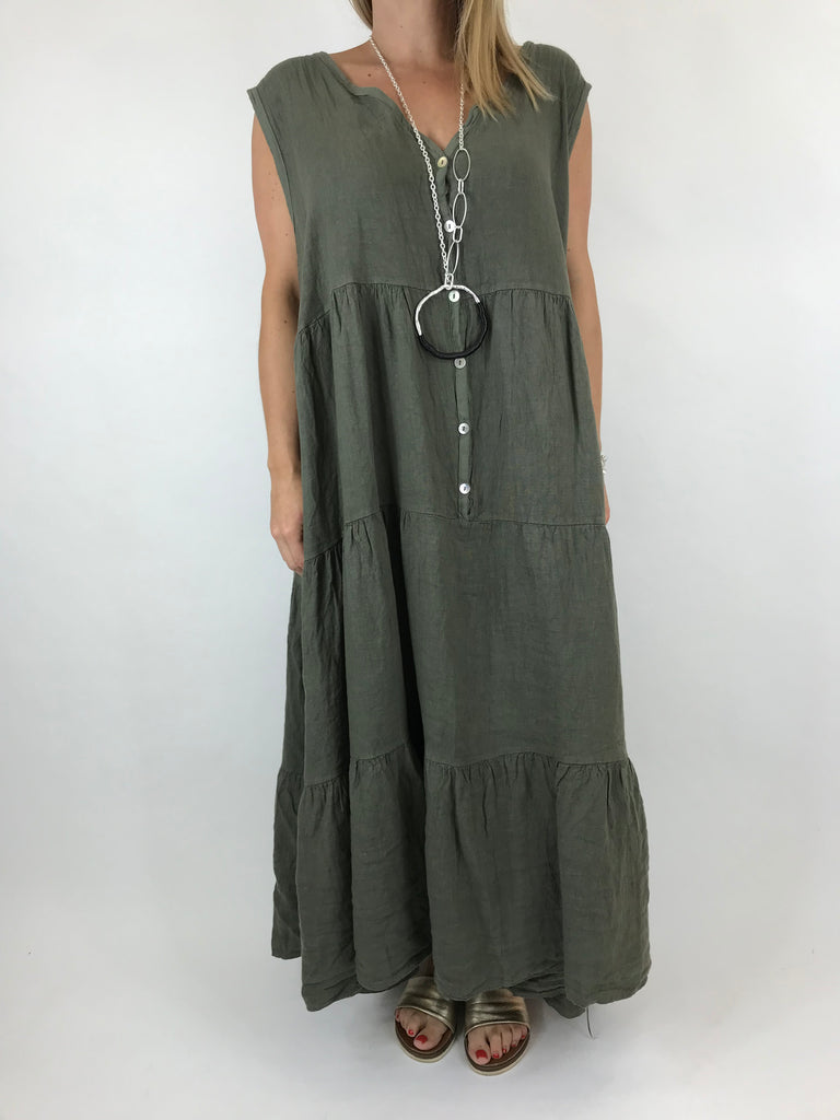 Lagenlook Kate Sleeveless Button Front Linen Tunic in Khaki. code 20529