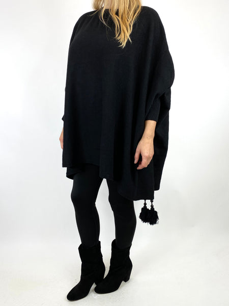 Lagenlook Ella Tassel Jumper in Black. code 2700