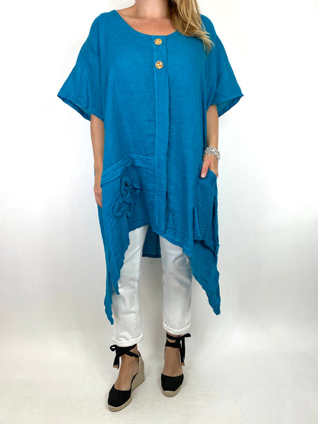 Lagenlook Tara 2 Button Linen Waffle Top in Teal .code 91085