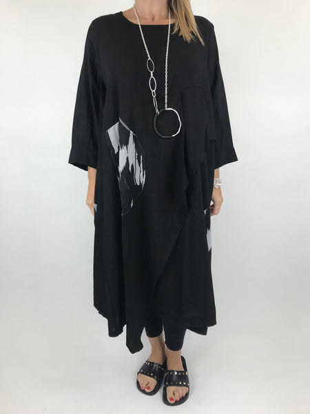 Lagenlook Jennifer Circle Splash Black Tunic. Code 9206