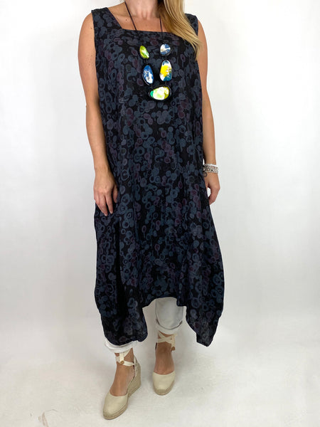 Lagenlook Millie Linen Flower Dot Square neck tunic in Black. code 8262D