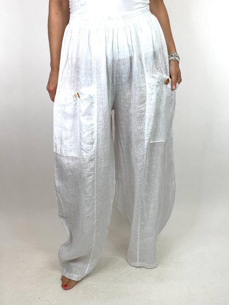 Lagenlook Eliza Wide leg Linen Trousers in White. code 6503
