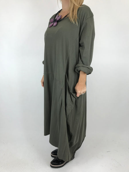 Lagenlook Josie Pocket Tunic in Khaki. code 9081