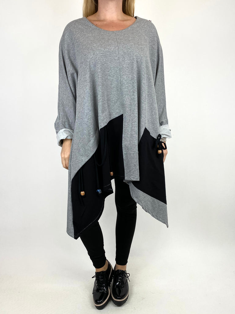 Lagenlook Sammy Jersey Bead Top in Grey. code 910881