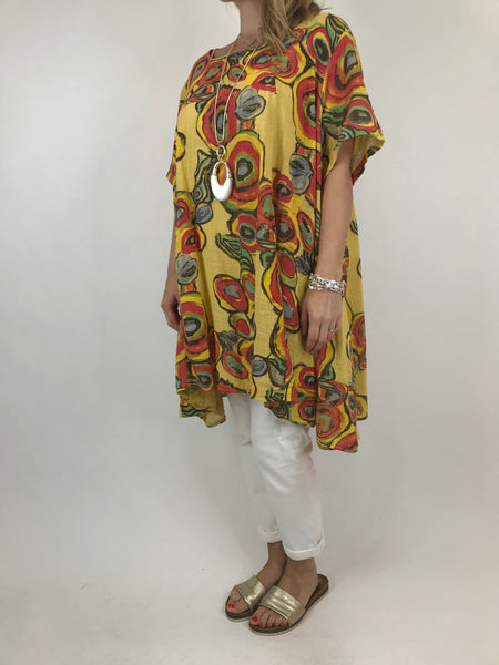 Lagenlook Circle Pattern Top in Yellow. code 90409