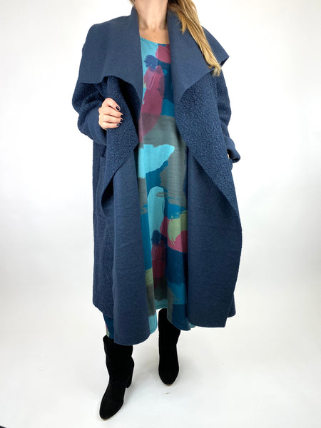 Lagenlook Waterfall Boucle Coat in Navy. Code 6360 - Lagenlook Clothing UK