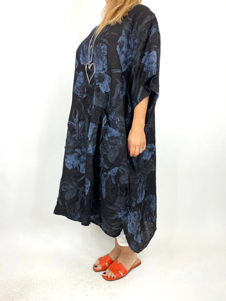 Lagenlook Carrie Button Flower Linen 30UK Size Top in Black. code 2149