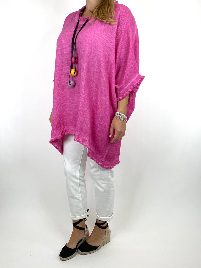 Lagenlook Marie Washed Fray Hem top in Fuchsia. code 10322