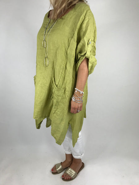 Lagenlook Ellen Swirl Flower Linen in Lime. code 008