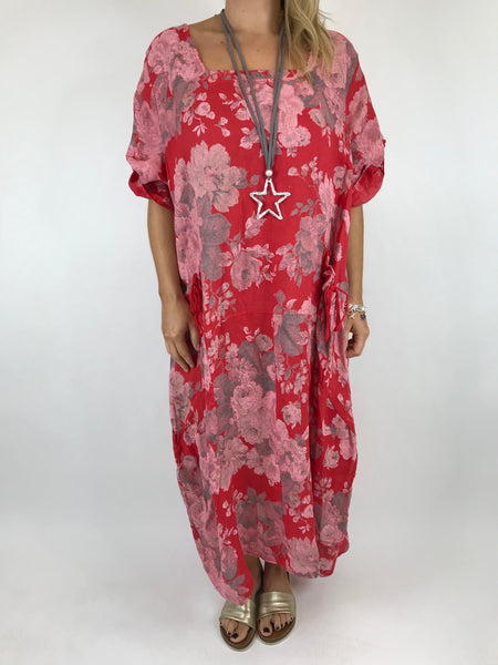 Lagenlook Floral Sleeved Linen Tunic in Red. code 5314