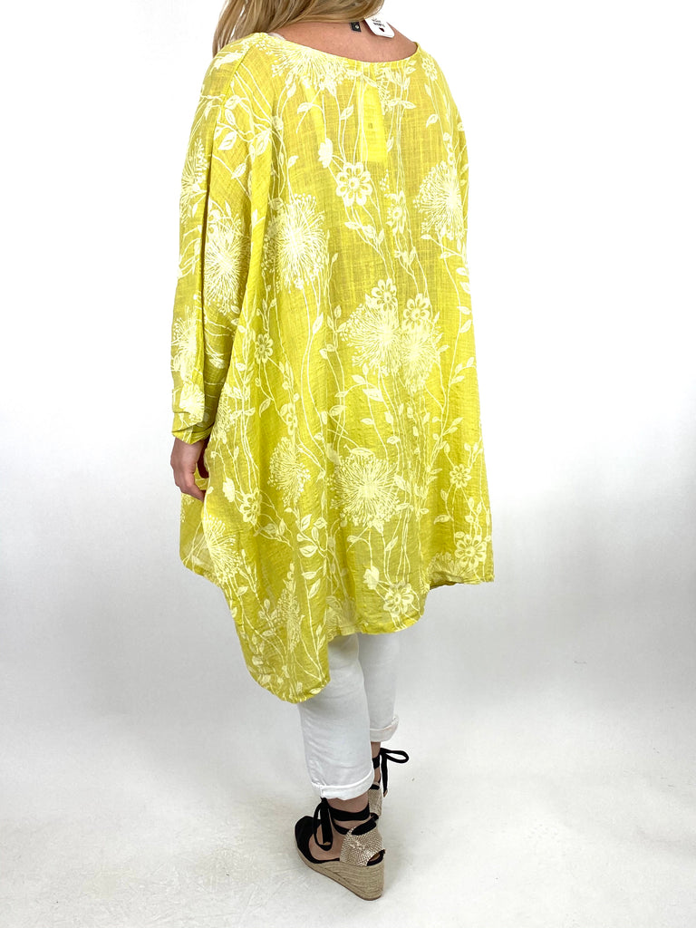 Lagenlook Rachel Flower Poncho In Yellow. code 6363