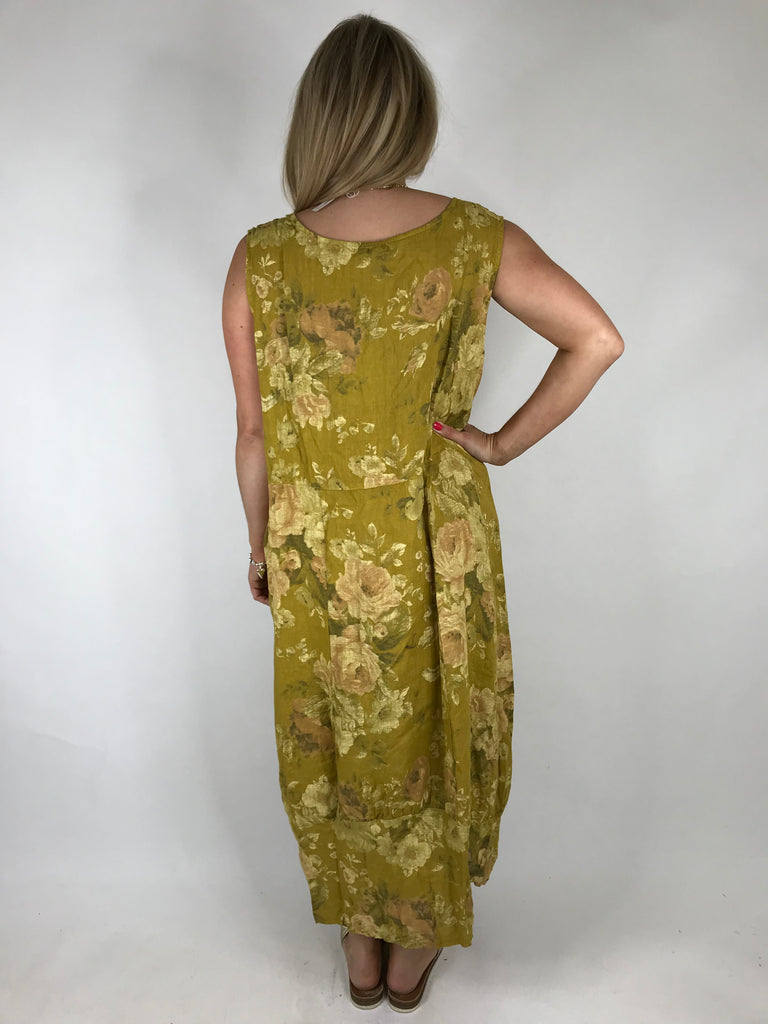 Lagenlook Emily Square neck linen Flower Print Dress in Mustard. code 5097