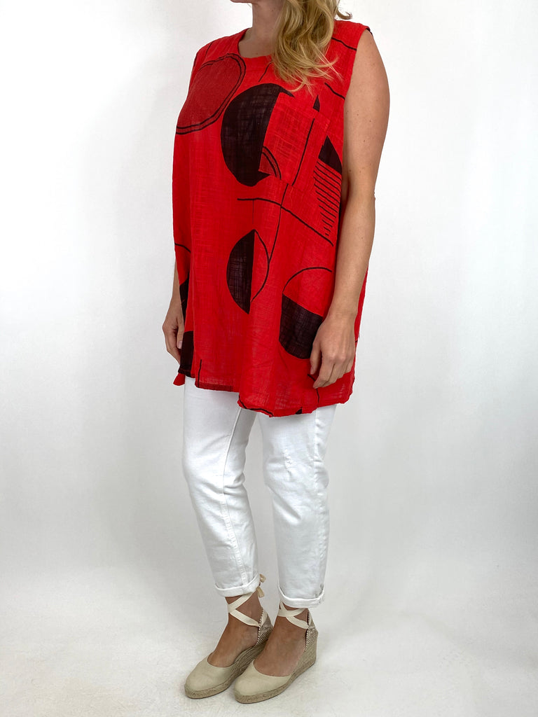 Lagenlook Linen mix Vest Top in Red . code 6112