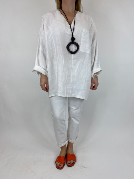 Lagenlook Ava Linen V- Neck Top in White. code 10297