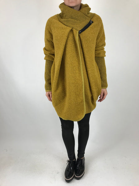 Lagenlook Made In Italy Coatigan in mustard. code 9097